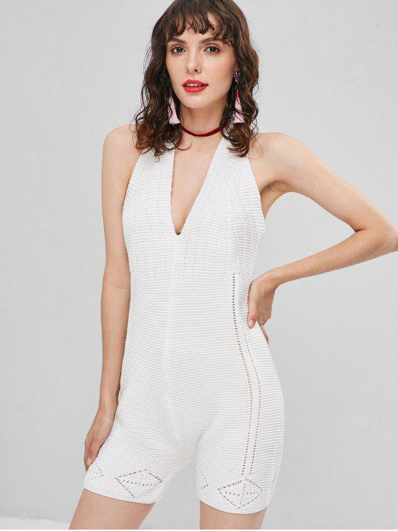 latest Knitted Open Back Romper - WHITE ONE SIZE