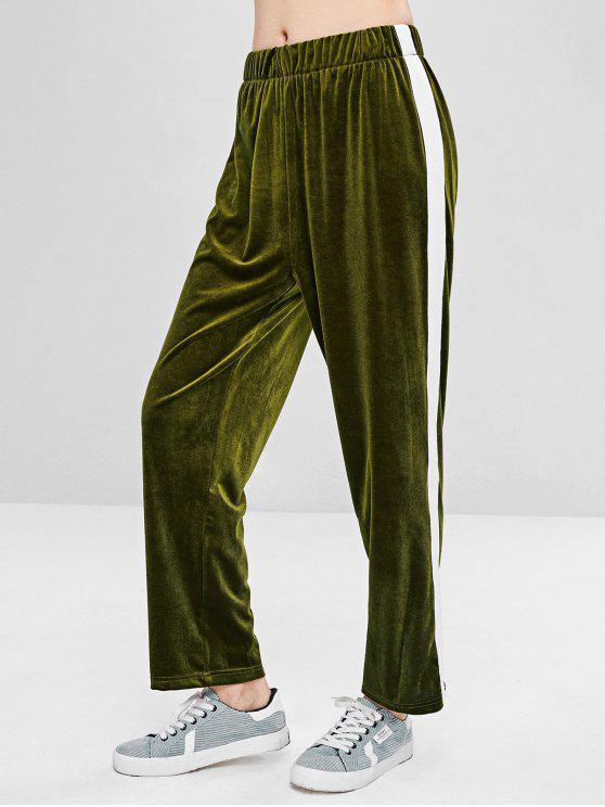 Pantalon Droit en Velours de Couleurs Contrastées - Vert Fougère L