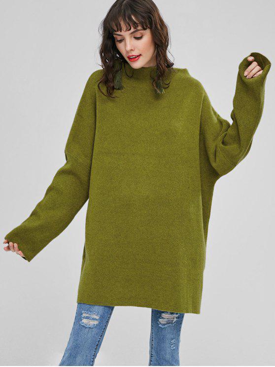 Übergroße Tunika Pullover - Gift Grün Eine Größe