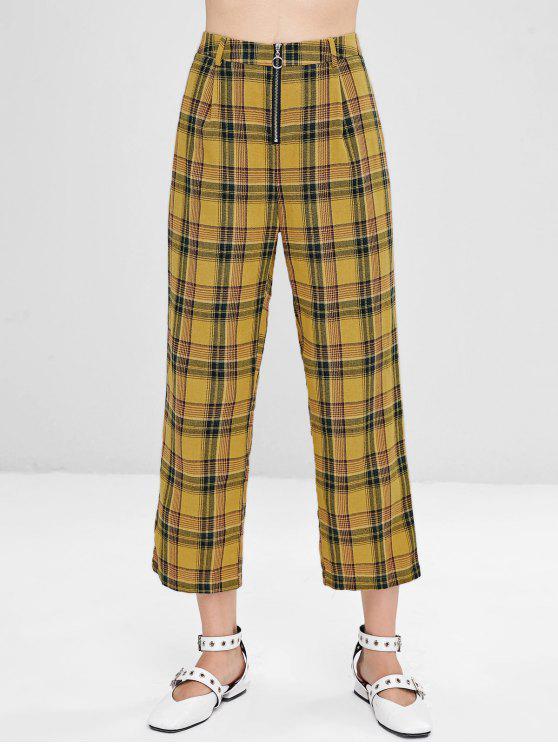 lady Plaid Front Zip Crop Pants - ORANGE GOLD S