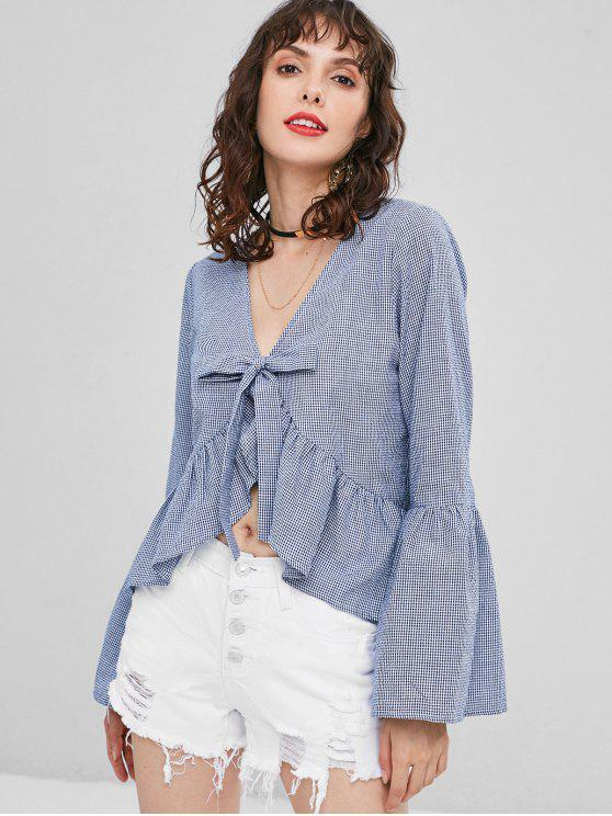 women Ruffles Knotted Gingham Blouse - DARK SLATE BLUE S