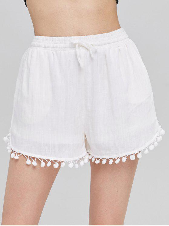 Pompom Trim High Waisted Shorts - أبيض XL