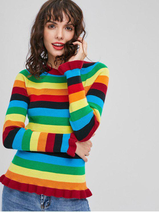 affordable Ruffles Rainbow Striped Sweater - MULTI L