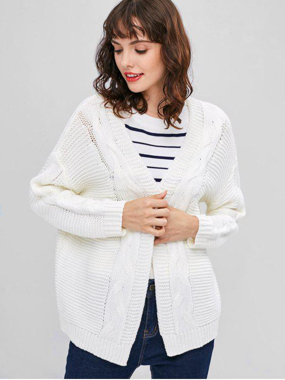 0afffd3a1e8 64% OFF  2019 Open Front Chunky Cable Knit Cardigan In WHITE
