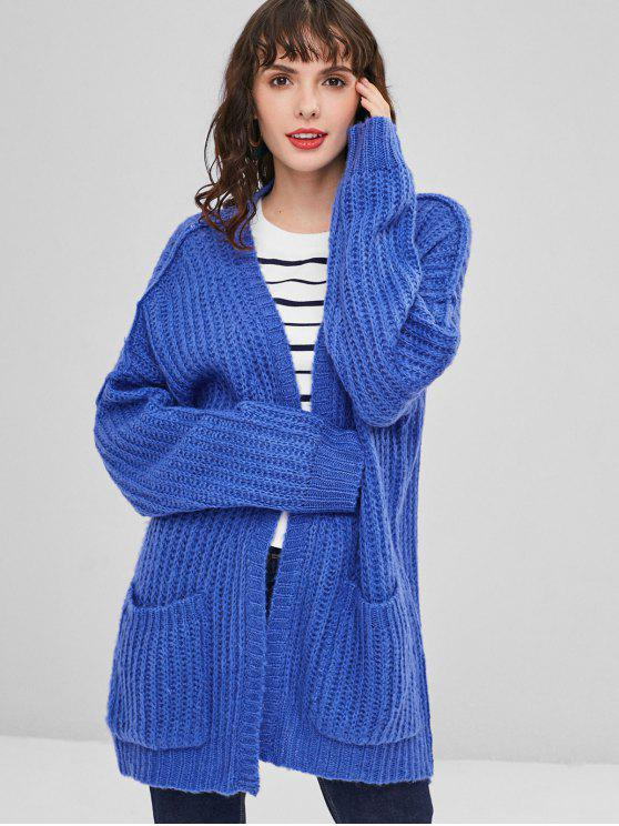 outfits Pockets Open Front Oversized Cardigan - BLUE ORCHID S