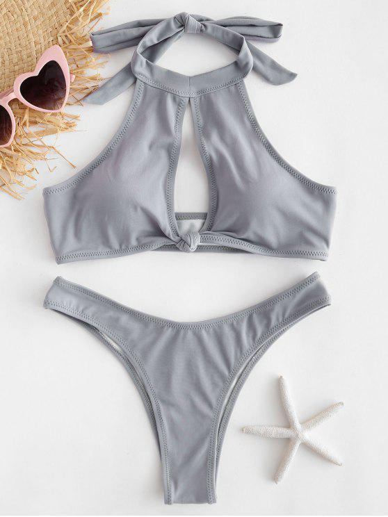 outfit Halter Keyhole Knot Bikini Set - GRAY CLOUD S