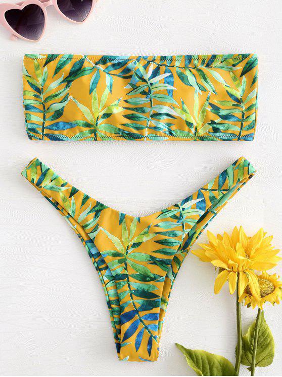 Juego de Bikini Bandeau con Cordones y Estampación de Hojas - Marrón Dorado S