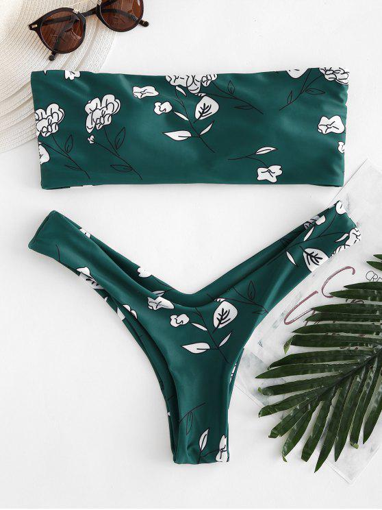 outfits Flower Print Bandeau Bikini Set - MEDIUM SEA GREEN M