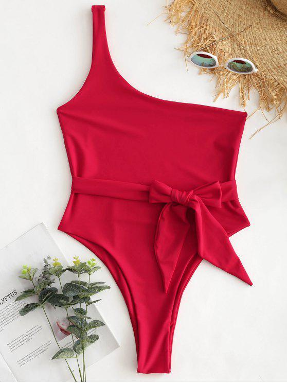 shops One Shoulder Bralette Swimsuit - LAVA RED L