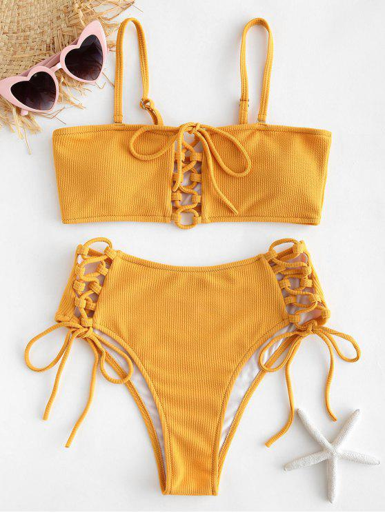 outfits Ribbed Lace Up Bikini Set - BRIGHT YELLOW L