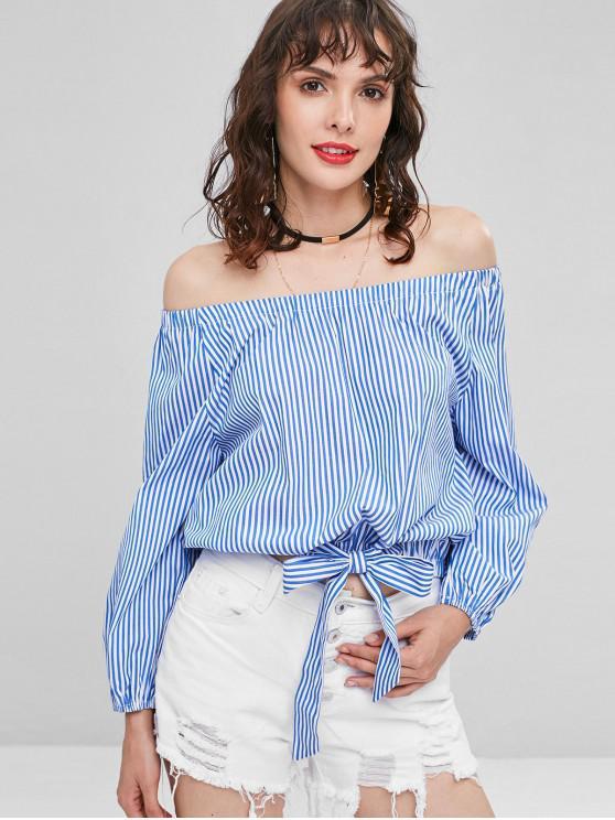 shops Off Shoulder Stripes Blouse - BLUEBERRY BLUE L