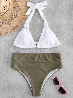 Halter Farbblock Hohes Bein Bikini Set - Tarnanstrich Grün M