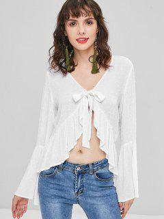 Flare Sleeve Knotted Ruffles Blouse - White S