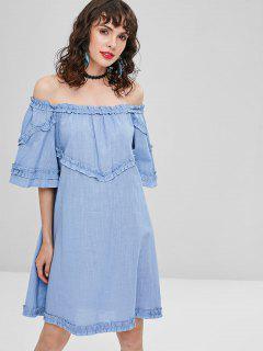 Frilled Off The Shoulder Dress - Blue Gray M