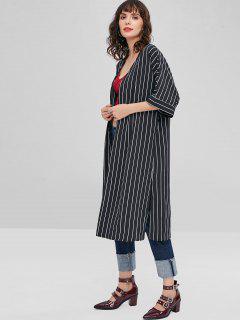 Striped Long Kimono - Black M