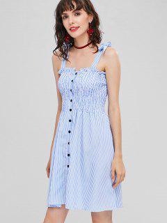 Tie Shoulders Shirred Striped Dress - Sky Blue M