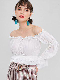 Cropped Frilled Off Shoulder Top - White M