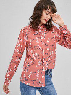 Button Down Floral Shirt - Light Coral L