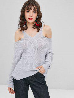 Cable Knit Cold Shoulder Sweater - Light Gray M