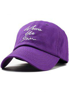 Printed Letters Embroidery Trucker Hat - Purple