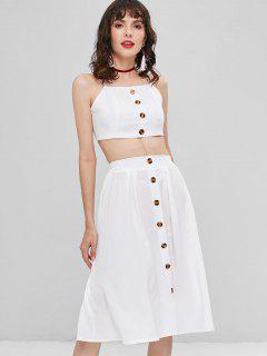Buttoned Two Piece Dress - White L
