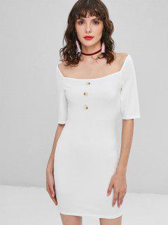 Buttoned Ribbed Bodycon Dress - White L