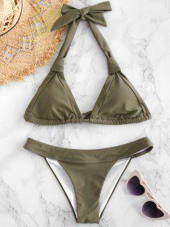 High Cut Halter Cheeky Bikini Set - Army Green S
