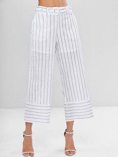 Pantalones Capri Con Cinturón A Rayas - Blanco S