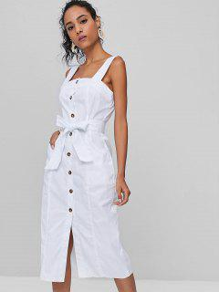 Button Front Sleeveless Belted Dress - White M