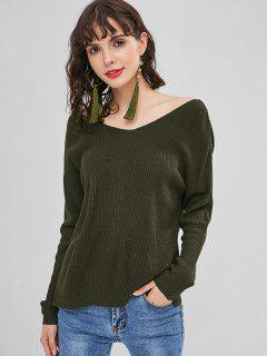 Back Twist Sweater - Army Green M