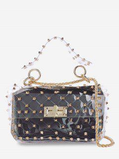 2 Pieces Lucid Rivet Jelly Crossbody Bag Set - Black Horizontal