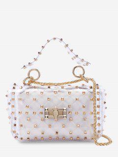 2 Pieces Lucid Rivet Jelly Crossbody Bag Set - White Horizontal