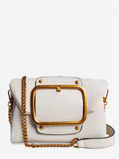 Buckle PU Leather Flap Crossbody Bag - White Horizontal