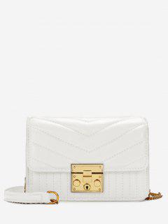 V Shaped Stitching Quilted Sling Bag - White Horizontal