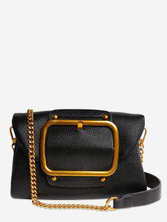 Buckle PU Leather Flap Crossbody Bag - Black Horizontal