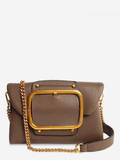 Buckle PU Leather Flap Crossbody Bag - Brown Horizontal