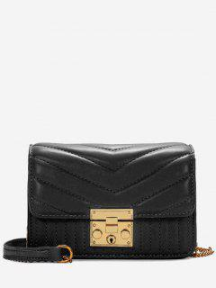 V Shaped Stitching Quilted Sling Bag - Black Horizontal