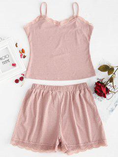 Geripptes Cami Top Und Shorts Pyjama Set - Rosa Rose M