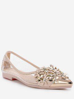 Chic Crystal Studded Floral Metal Pointed Toe Flats - Apricot 39
