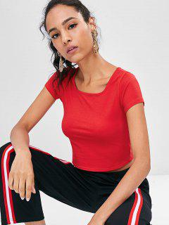 Solid Color Crop Tee - Love Red M