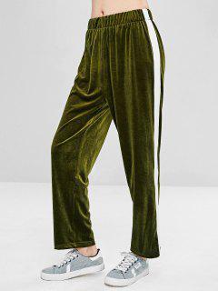 Contrasting Velvet Straight Pants - Fern Green S