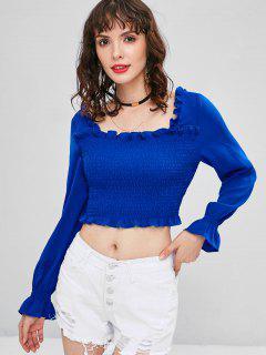 Rüschen Trims Smocked Crop Bluse - Blau Xl
