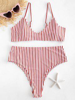 Conjunto De Bikini A Rayas De Corte Alto Y Talla Grande - Multicolor 1x