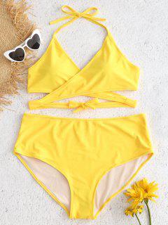 Plus Size High Rise Wrap Bikini Set - Sun Yellow 2x
