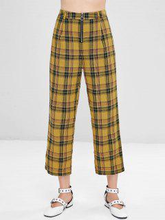 Plaid Front Zip Crop Pants - Orange Gold M