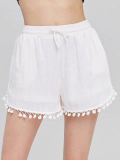 Pompom Trim High Waisted Shorts - White L