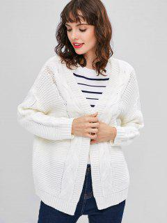 Open Front Chunky Cable Knit Cardigan - White