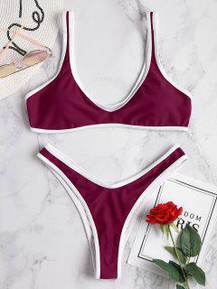 Contrast Trim Sport Bikini Set - Plum Velvet L