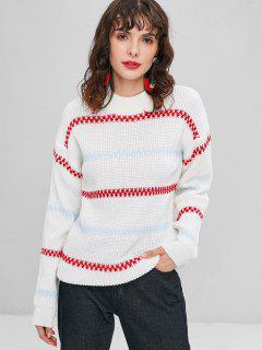 Gestreifter Pullover Mit Rundhalsausschnitt - Weiß