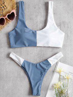 Farbblock Scoop Hohes Bein Bikini - Kornblumenblau L